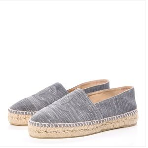 Chanel grey leather espadrilles